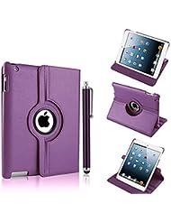 NUEVO diseño morado oscuro (Piel Sintética, rotación de 360° Smart Stand Funda para iPad Mini 2