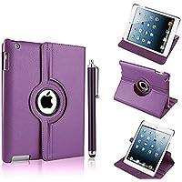 NUEVO diseño morado oscuro (Piel Sintética, rotación de 360° Smart Stand Funda para iPad 2, 3y 4
