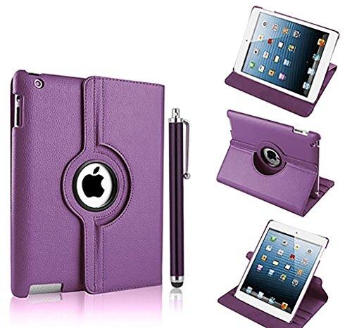 Nouveau design violet foncé en PU imitation cuir avec support rotatif à 360° Etui folio Housse pour iPad 2