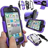 Coque Protection Robuste Antichoc Robuste pour téléphones et tablettes - Apple iPhone 4S / 4, Mauve