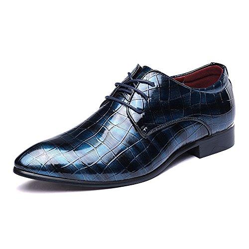 Hilotu Spielraum!Smoking Schuhe,Oxford-Schuhe aus Lackleder für Herren Spitze Zehe schnüren sich oben beiläufige Hochzeitsschuhe (Color : Blau, Größe : 44 EU)