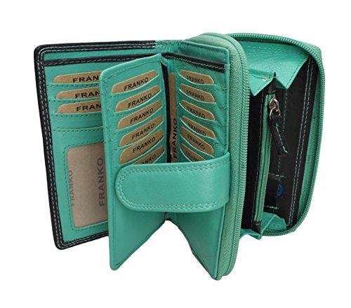 f4cea49fdab92 Design Damen Geldbörse von Franko Geldbeutel Elegant Portmonee XL  Portemonnaie aus Weichem Leder Damenbörse Wallet