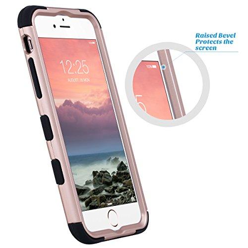 iPhone 6s Hülle, ULAK iPhone 6 hülle Silikon Shockproof Fall Luxus 3in1 Hybrid Schlag Anti-Rutsch harte Schutzhülle für iPhone 6/ 6s 4,7 Zoll (Roségold Stripes) Rosé Gold + Schwarz