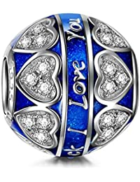 NinaQueen Amor azul Abalorio de mujer de plata de ley
