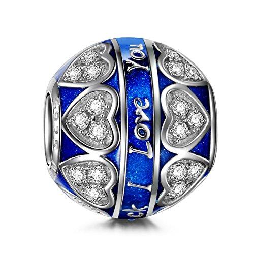 Ninaqueen blue love ciondolo da donna argento sterling 925 per pandora charms bracciale regalo compleanno natale san valentino festa della mamma regali anniversario per moglie madre sposa