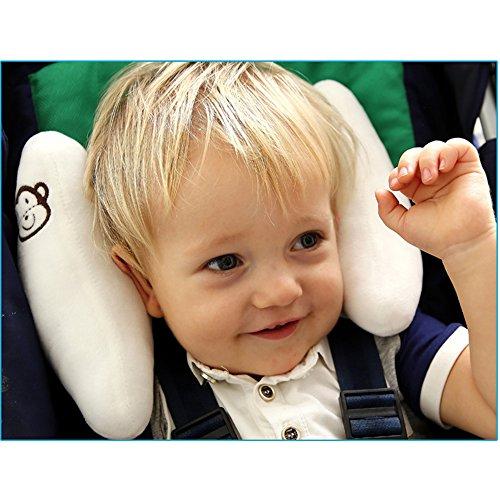 Inchant regolabile bambino morbida testa collo supporto dei bambini più piccoli viaggi auto sicurezza sedile cuscino a forma di banana–bianco