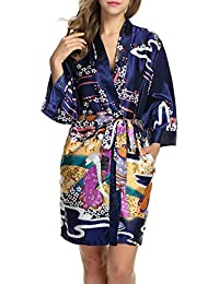 HOTOUCH Femme Robe de Chambre en Satin Pyjama Kimono Imprimé Peignoir de Bain Manche 3/4 M-XXL