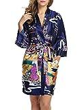 HOTOUCH Damen Morgenmantel Kimono Bademantel Nachtwäsche Negligee Tiefer V-Ausschnitt Schlafanzug aus Satin ¾Ärmeln mit Gürtel