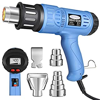 Heat Gun, Mowis 1800W Hot Air Gun Heavy Duty with LCD Display, Temperature and Wind Speed Adjustable, Heavy Duty Shrink Gun for Stripping Paint, Soldering Pipes, Shrinking PVC
