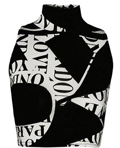 Friendz Trendz Camicia da Donna a Collo Alto con Collo Alto e Maniche Corte Alphabet