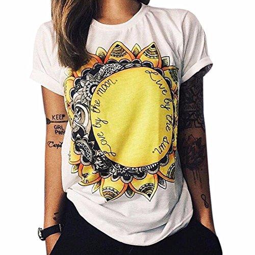 QIYUN.Z Sommer-Mond Sonne Blume Gedruckt Frauen Mädchen Short Sleeve T-Shirt-Tees (T-shirt Mond)