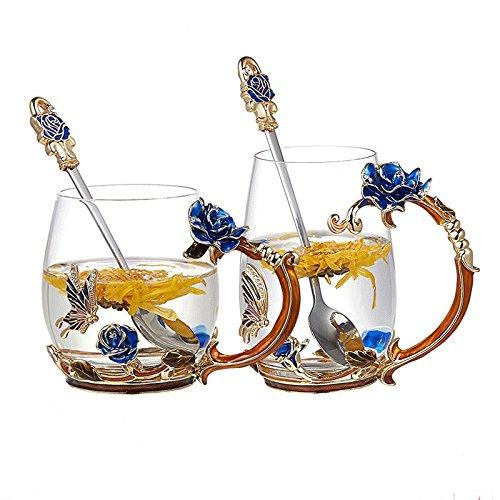 Emaille-Becher-transparente Glasschale-Getränk-Latte-Kaffee-Café-Tee-Wasser-Milch-hohe Schalen-Liebhaber-Schale mit Löffel mit Griff-Persönlichkeit Einfache bunte Blumen-Schale handlicher und tragbarer Haushalt ( Farbe : Blau , größe : High )