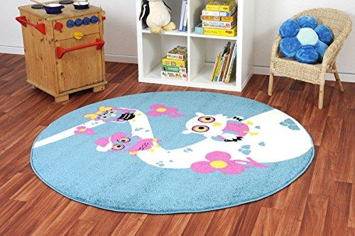 Kinderteppich Happy Friends Wandertag blau rund - Spielteppich versandkostenfrei schadstoffgeprüft pflegeleicht antistatisch schmutzabweisend robust strapazierfähig Kinderzimmer Spielzimmer Kids Fun , Größe Auswählen:160 cm rund