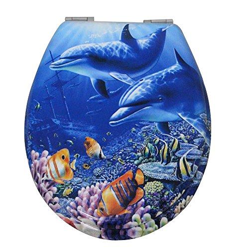 WC Sitz Toilettensitz Toilettendeckel Klodeckel Klobrille mit Absenkautomatik 5 Top Motive (Delfin 607604) (Delfine Fünf)