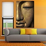 #7: 999Store Wooden framed printed the face of Buddha canvas painting (30X18 Inches)