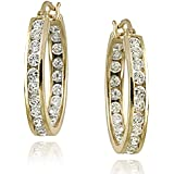 Sterling Silver, 18K Yellow or Rose Gold Plated 20mm Channel Set Cubic Zirconia Hoop Earrings