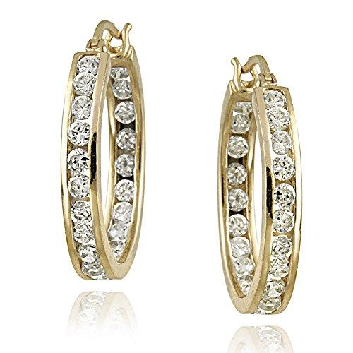 18k Gold over Sterling Silver 20mm Channel Set Cubic Zirconia Hoop Earrings