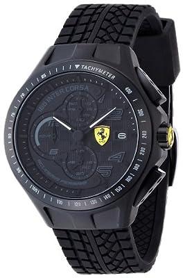 Reloj Ferrari 830105 de cuarzo para hombre, correa de silicona color negro (cronómetro) de Ferrari