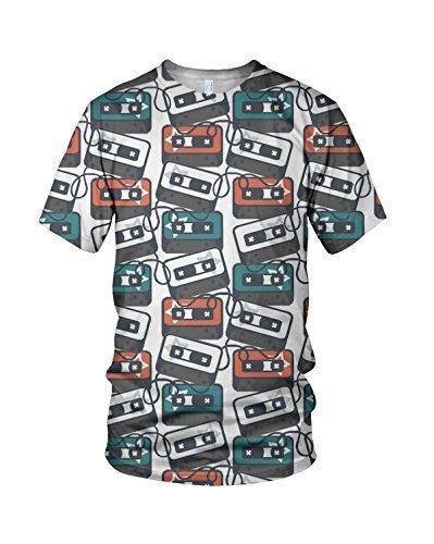 Estampado Entero Cassette Retro Relacionados Hombre Moda Camiseta - sintético, Multicolor, 100% poliéster 100% poliéster, Hombre, Large, Multicolor