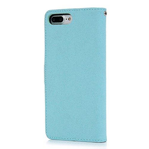Mavis's Diary Coque iphone 7 plus (5.5'') Étui Housse de Protection PU Cuir + TPU Silicone Antichoc Bookstyle Coque en Cuir Case à Rabat Portefeuille Carte Slot + Chiffon - Gris Bleu
