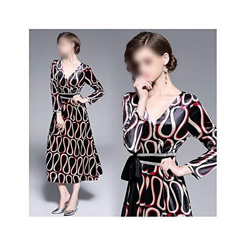 La-la-samtrock (Bademode Farblich passendes Kleid mit V-Ausschnitt Langer Samtrock mit neun Ärmeln und langem Kleid Bikinis (Farbe : Bildfarbe, Size : L))