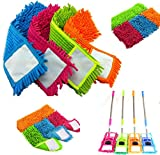 2 x Microfibre FLOOR Noodle MOP Heads Refill, Replacement Dust Cloth, Washable Cleaning Sweeper Pad & FREE LED Torch