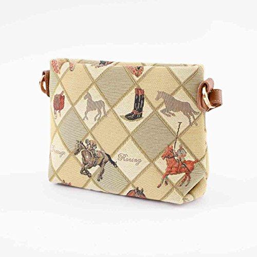 Borsetta donna Signare alla moda in tessuto stile arazzo a spalla borsa messenger a tracolla floreale Sport equestri