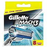 Gillette Mach3 Turbo – Pack de recharges de lames de rasoir pour homme, 8 unités