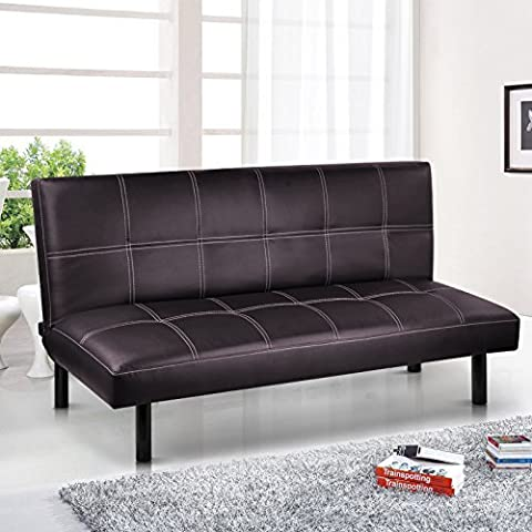 Modern PU Leather 3 Seater Sofa Bed - Fold Down Table Living Room Furniture (Brown) by tinxs