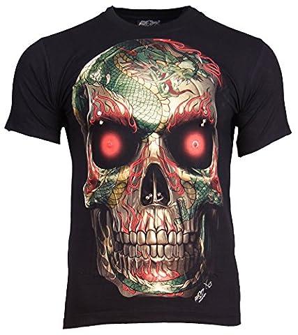 Go-Let-It-Out T-shirt squelette rock métallique dragon et crâne - x-large
