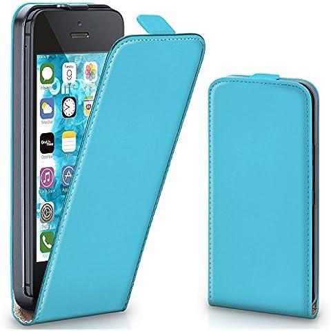 Bolso OneFlow para funda iPhone 5C Cubierta con imán | Estuche Flip Case Funda móvil plegable | Bolso móvil protección móvil paragolpes funda protectora con cubierta en Azzurro/Blu