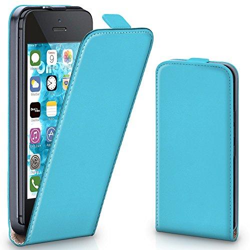 iPhone 5C Hülle Schwarz [OneFlow 360° Klapp-Hülle] Etui thin Handytasche Dünn Handyhülle für iPhone 5C Case Flip Cover Schutzhülle Kunst-Leder Tasche AQUA-CYAN