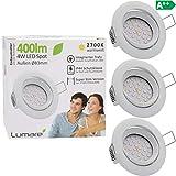 3x Faretto da incasso Lumare a LED grado di protezione IP44 ultrapiatto 4W 400 lm 230V (lampadina sostituibile) orientabile a 30° calda luce bianca per soggiorno e ambienti esposti all'umidità