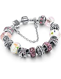 Hot and Bold Sterling Silver Plated Charms DIY Dangling Bracelet. Daily/Party Wear Stylish Fashion Jewellery for Women/Girls.
