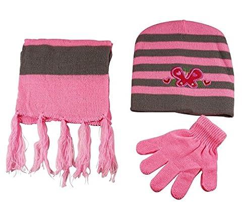 Girls Hat Scarf and Gloves 3 Piece Set Knit Stripe