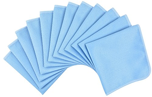 Kinhwa set da 12 panni in microfibra strofinaccio cucina, per la pulizia di bicchieri, vetri, auto, casa 30cmx30cm blu