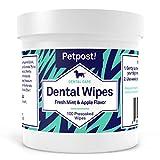 Petpost   Lingettes dentaires pour Chiens - Dites Adieu à la Mauvaise haleine, à la Plaque et aux Caries - 100 lingettes imbibées d'une Solution lavante Naturelle