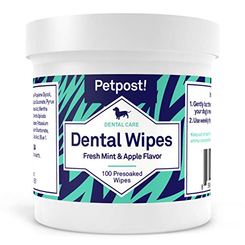 Petpost | Dog Dental Wipes: Bad Breath, Plaque and Cavities Disappear. 100 Soaked Pads in a Natural Cleaning Solution for Teeth
