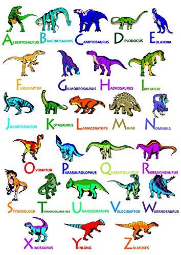 JAAC Street ABC Dinosaurier-Poster für Kinderzimmer, 350 g/m², Seidenpapier, A3 30 x 42 cm - A3