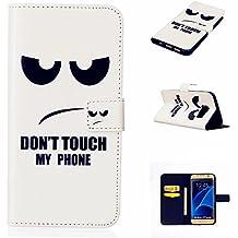 TKSHOP Accessories Case Cover per Samsung Galaxy S7 edge Custodia PU pelle Funzione di Sostegno Stand con la Copertura del Raccoglitore per la Carte Chiusura Magnetica+ Penne Capacitive Stylus penna Nero per dispositivi touchscreen - Occhi neri arrabbiati Don't touch my