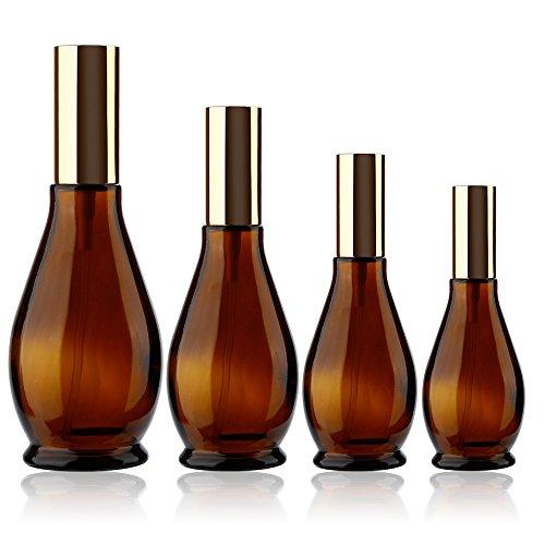 YUTALOW 4pcs Leere Amber-Sprühflasche, tragbarer nachfüllbarer 4-Unzen-Sprühbehälter, Glassprühflasche für Parfüm, ätherische Öle, Reinigungsprodukte oder Aromatherapie