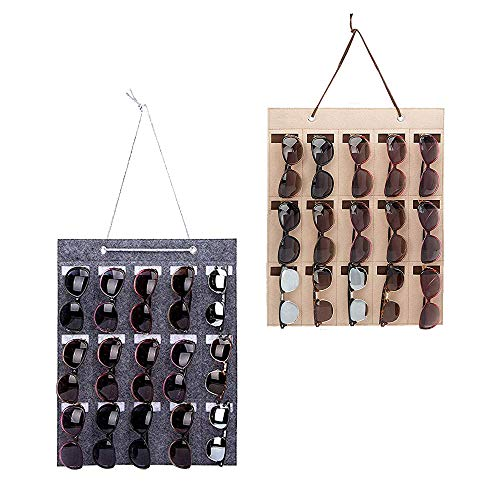 Wankd Wand-Organizer für Sonnenbrillen, hängende Sonnenbrillenhalter,Brillen Lagerung und Sonnenbrillen Display Organizer Sonnenbrillen Organizer hängen Tasche Sunglass Glass Wall Organizer (Grau)