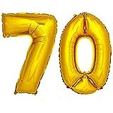 DekoRex Folienballon Zahlenballon Luftballon Geburtstag Deko 40cm Gold Zahl: 70