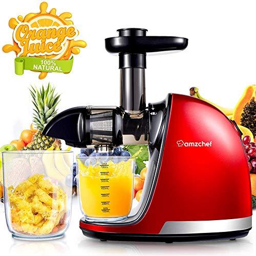 AMZCHEF Slow Juicer BPA-frei Entsafter Gemüse und Obst Profi Entsafter mit Ruhiger Motor & Umkehrfunktion & Saftkanne & Reinigungsbürste(150 Watt/Rot)*