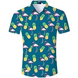 Loveternal Camisa Hawaiana para Hombre Camiseta Flamenco Graphic Summer 3D Impresa Manga Corta Funky Shirt XL