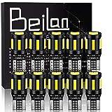 BeiLan 10PCS T10 LED Ampoules de Voiture,Canbus W5W 194 168 2825 6x 7020 & 4x 3030 Lampe Sans Erreur, Lampe de Remplacement à Inversion pour Lumière Dôme Carte Côté Feux de Plaque