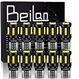 BeiLan T10 W5W LED Bombillas Canbus 6x 7020 & 4x 3030 10SMD 194 168 501 2825 Super brillante Wedge Lampara para Coches de Interior y Exterior Xenón luces laterales 12V, Luz Blanco (paquete de 10)