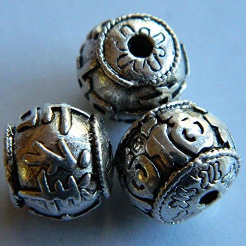 Plaqué argent 11 mm x 10 mm Perles – Lot de 10