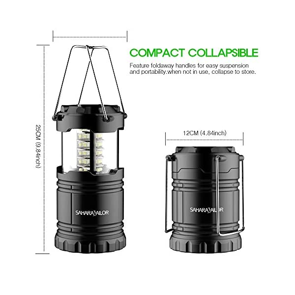 [2 PACK] Camping Lantern- Sahara Sailor Ultra Bright LED Lantern- Collapses - Suitable for: Hiking, Camping, Emergencies, Hurricanes, Outages - Super Bright - Lightweight - Water Resistant 6