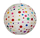 Lokta Lampenschirm Rimini mit Punkten rund, Durchmesser 35cm